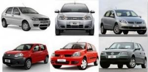 Exemplo de 6 carros populares