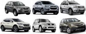 Exemplo de 6 modelos SUV
